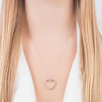 Colar Folheado Ródio Coração com Micro Zircônia Colorida