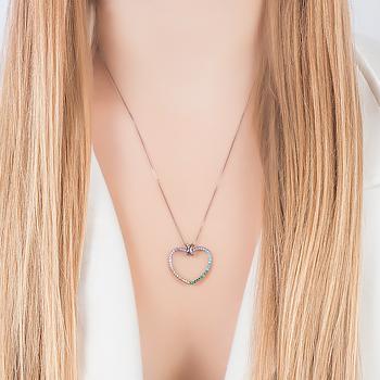Colar Folheado Ródio Negro Coração com Micro Zircônia Colorida