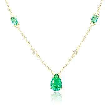 Colar Folheado Ouro 18K com Gota Cristal Turmalina Verde Principal e Cristais Baguetes
