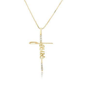 Colar Folheado Ouro 18K JESUS em Formato de Cruz com Micro Zircônia Cristal