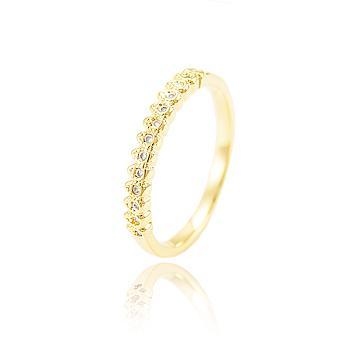 Anel Aparador Folheado Ouro 18K Micro Zircônia Cristal