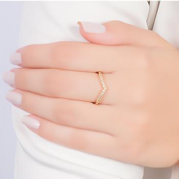 Anel Curvado Folheado Ouro 18K com Micro Zircônia Cristal