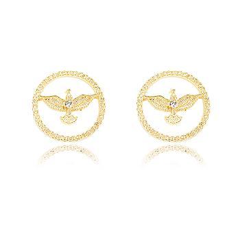 Brinco Folheado Ouro 18K Mandala de Pássaro com Strass Cristal