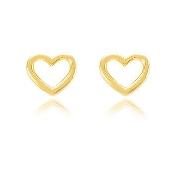 Brinco Coração Vazado Folheado Ouro 18K Pequeno