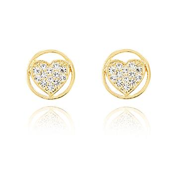 Brinco Folheado Ouro 18K Mandala Coração com Strass Cristal