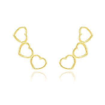 Brinco Ear Cuff Folheado Ouro 18K Corações