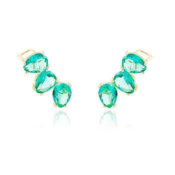 Brinco Ear Cuff Folheado Ouro 18K com Cristal Turmalina Verde Gotas