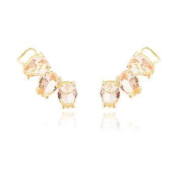 Brinco Ear Cuff Folheado Ouro 18K com Cristal Morganita Gotas