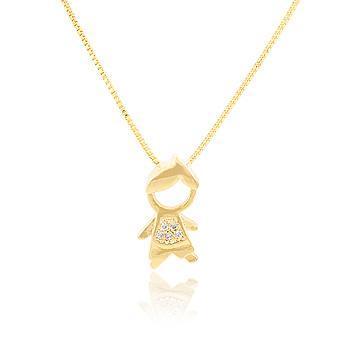 Pingente Menino Folheado Ouro 18K com Micro Zircônia Cristal