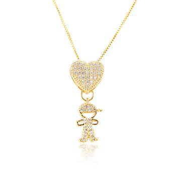 Colar Folheado Ouro 18K Coração com Pingente de Filho