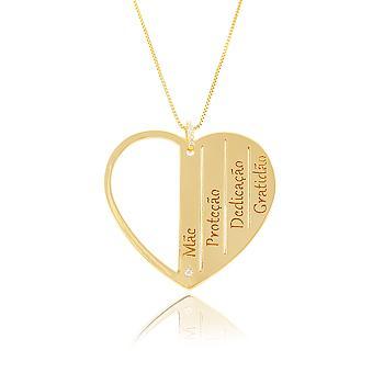 Colar Folheado Ouro 18K Coração Mãe Inspired Adriana Santanna