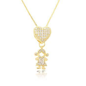 Colar Folheado Ouro 18K Coração com Pingente de Filha