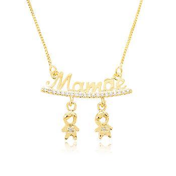 Colar Folheado Ouro 18K Mamãe com 2 Meninos Pendurados e Micro Zircônia Cristal