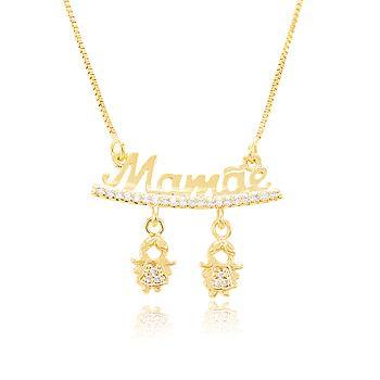 Colar Folheado Ouro 18K Mamãe com 2 Meninas Penduradas e Micro Zircônia Cristal
