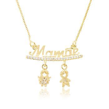 Colar Folheado Ouro 18K Mamãe com Menino e Menina Pendurados e Micro Zircônia Cristal