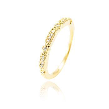 Anel Folheado Ouro 18K com Detalhe de Micro Zircônia Cristal