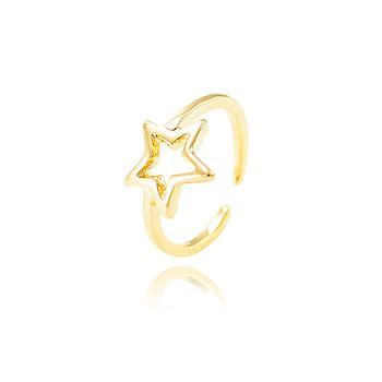 Anel Falange Estrela Folheado Ouro 18K