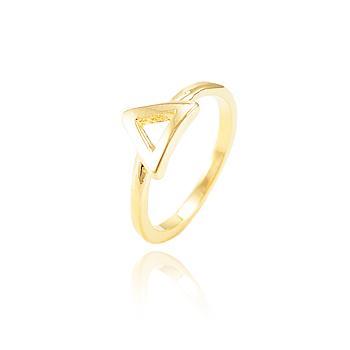Anel Falange com Triângulo Folheado Ouro 18K