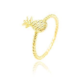 Anel Folheado Ouro 18K com Detalhe de Abacaxi