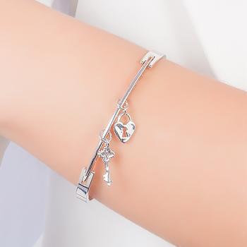 Bracelete Folheado Ródio Chave