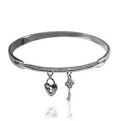 Bracelete Folheado Ródio Negro Chave