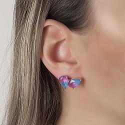 Brinco Gota Dupla Folheado Ródio com Cristal Bicolor Azul Marinho e Pink