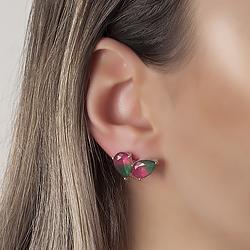Brinco Gota Dupla Folheado Ródio com Cristal Bicolor Esmeralda e Pink