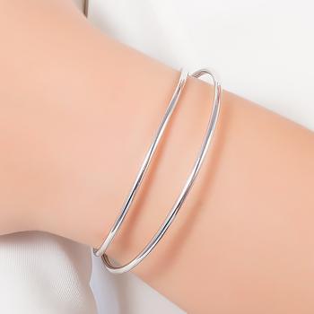 Bracelete Duplo Liso Folheado Ródio