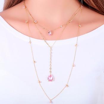 Colar Gravata Tiffany Folheado Ouro 18K com Gota Cristal Rosa