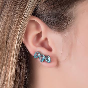 Brinco Ear Cuff Folheado Ródio Negro com Cristal Aquamarine Gotas