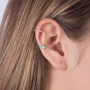 Piercing Fake Haste Folheado Ouro 18K com Pedra Fusion Quadrada Turmalina Verde e Micro Zircônia Cristal