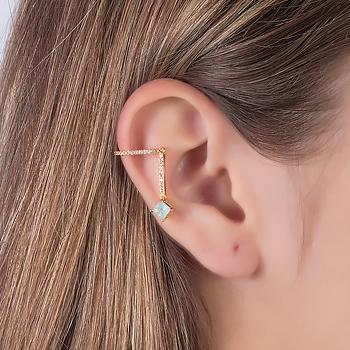 Piercing Fake Haste Folheado Ouro 18K com Pedra Fusion Quadrada Aquamarine e Micro Zircônia Cristal