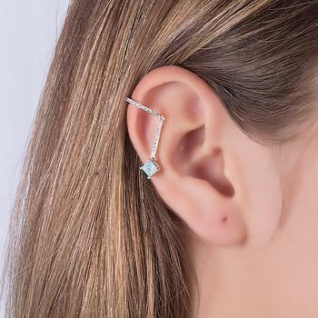 Piercing Fake Haste Folheado Ródio com Pedra Fusion Quadrada Aquamarine e Micro Zircônia Cristal