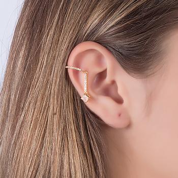 Piercing Fake Haste Folheado Ouro 18K com Pedra Fusion Quadrada Morganita e Micro Zircônia Cristal