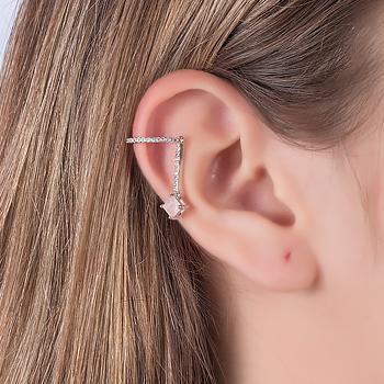 Piercing Fake Haste Folheado Ródio com Pedra Fusion Quadrada Morganita e Micro Zircônia Cristal