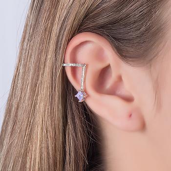 Piercing Fake Haste Folheado Ródio com Pedra Fusion Quadrada Ametista e Micro Zircônia Cristal