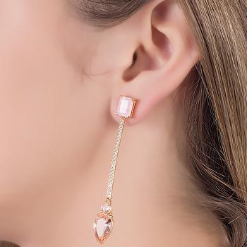 Brinco Folheado Ouro 18K Haste com Pedra Fusion Rosa, Micro Zircônia Cristal e Cristal Gota Morganita