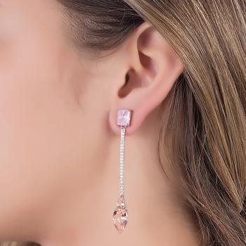 Brinco Folheado Ródio Haste com Pedra Fusion Rosa, Micro Zircônia Cristal e Cristal Gota Morganita