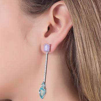 Brinco Folheado Ródio Haste com Pedra Fusion Ametista, Micro Zircônia Cristal e Cristal Gota Aquamarine