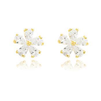 Brinco Flor Folheado Ouro 18K com Zircônia Gota Cristal