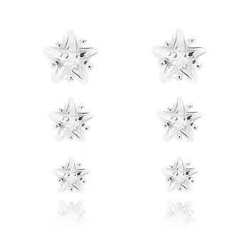 Brinco Trio Estrela Folheado Ródio com Zircônia Cristal
