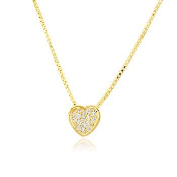 Colar Folheado Ouro 18K com Pingente de Coração e Micro Zircônia Cristal
