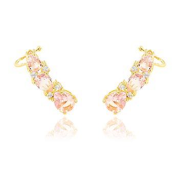 Brinco Ear Cuff Folheado Ouro 18K com Gotas Cristal Rosa