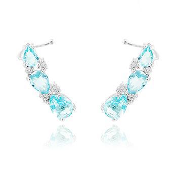 Brinco Ear Cuff Folheado Ródio com Gotas Cristal Aquamarine