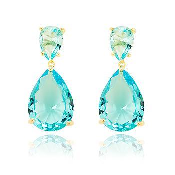 Brinco Gotas Folheado Ouro 18K com Cristal Aquamarine