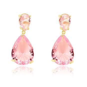Brinco Gotas Folheado Ouro 18K com Cristal Rosa