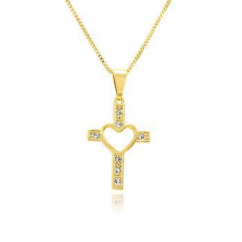 Colar Folheado Ouro 18K Cruz com Coração Vazado e Strass Cristal