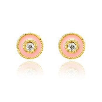Brinco Redondo Folheado Ouro 18K com Zircônia Cristal e Resina Rosa