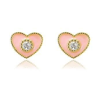 Brinco Coração Folheado Ouro 18K com Zircônia Cristal e Resina Rosa