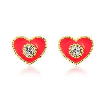 Brinco Coração Folheado Ouro 18K com Zircônia Cristal e Resina Vermelha